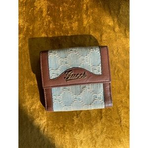 Gucci Monogram Denim Snap Wallet